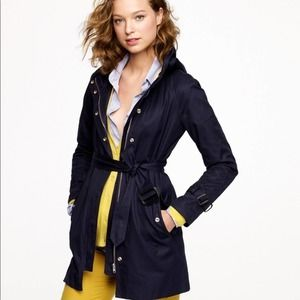 J. Crew Matinee Trench Coat Jacket Navy Belted 12